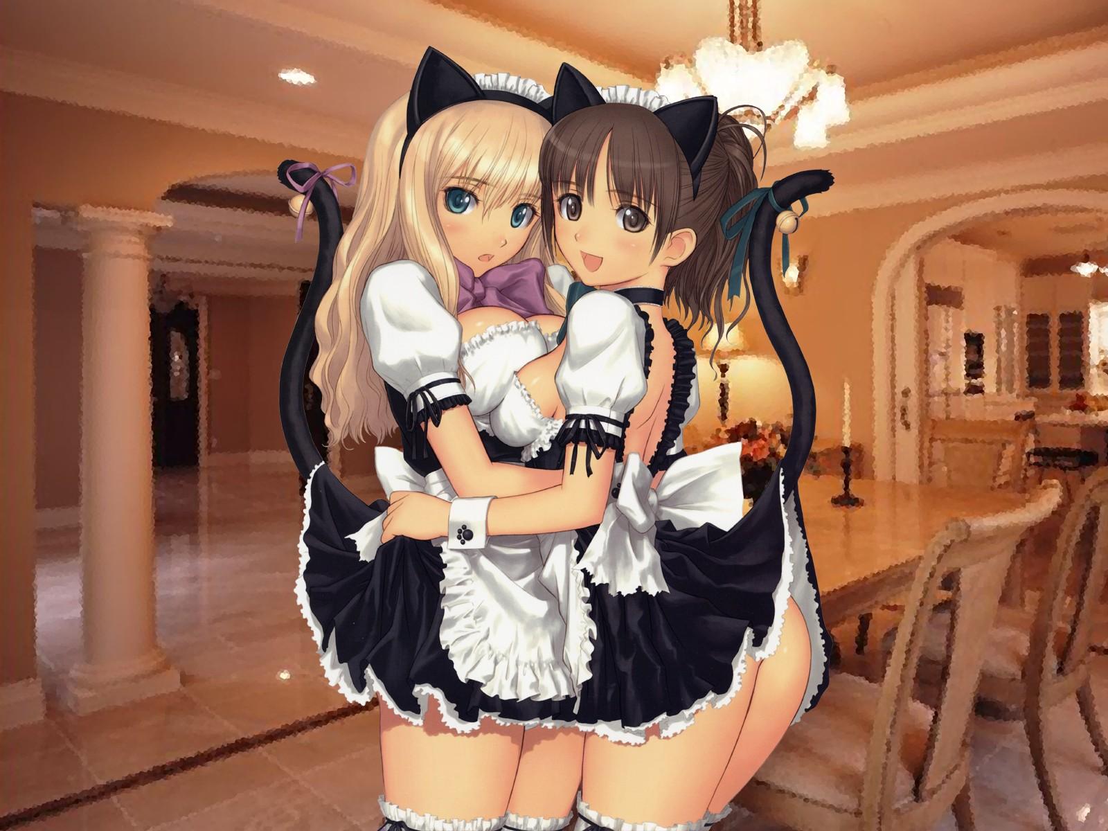 Konachan.com - 47 2girls bell blue_eyes blush bow breasts brown_eyes brown_hair catgirl cleavage hug maid ponytail ribbons tail taka_tony thighhighs wristwear